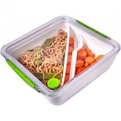 Pudełko śniadaniowe 920 ml, widelec, zielony