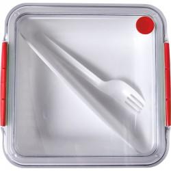 Pudełko śniadaniowe 920 ml, widelec, czerwony